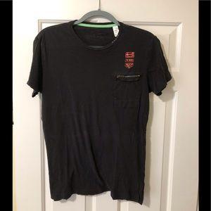 Diesel designer black shirt with zip pocket L